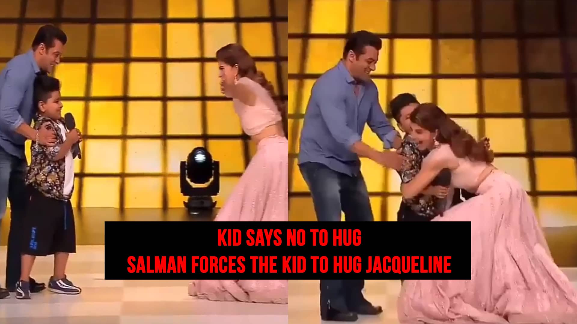 Twitter criticizes Salman for forcing a child to hug Jacqueline