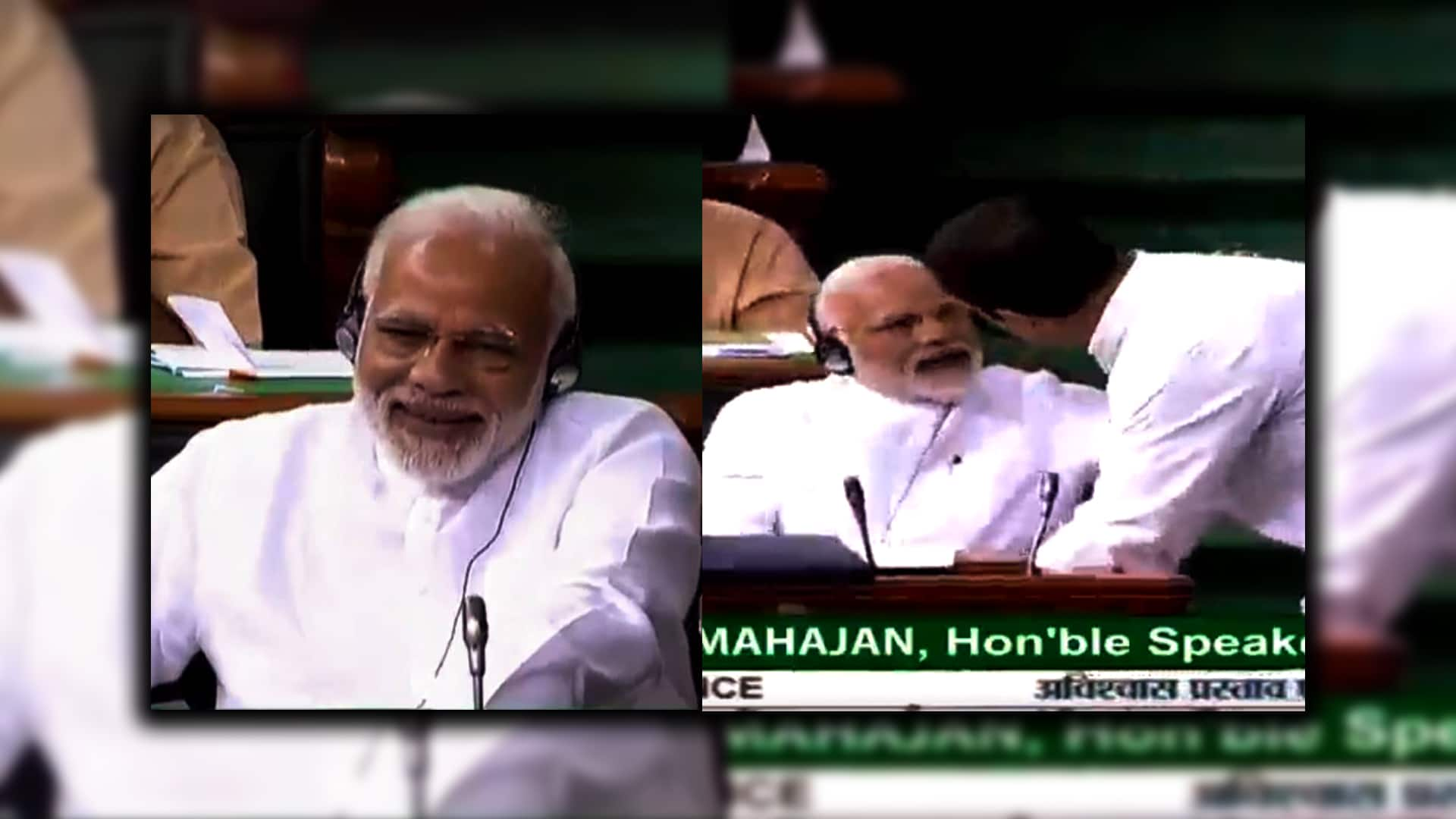 PM Modi laugh on Rahul Gandhi speech