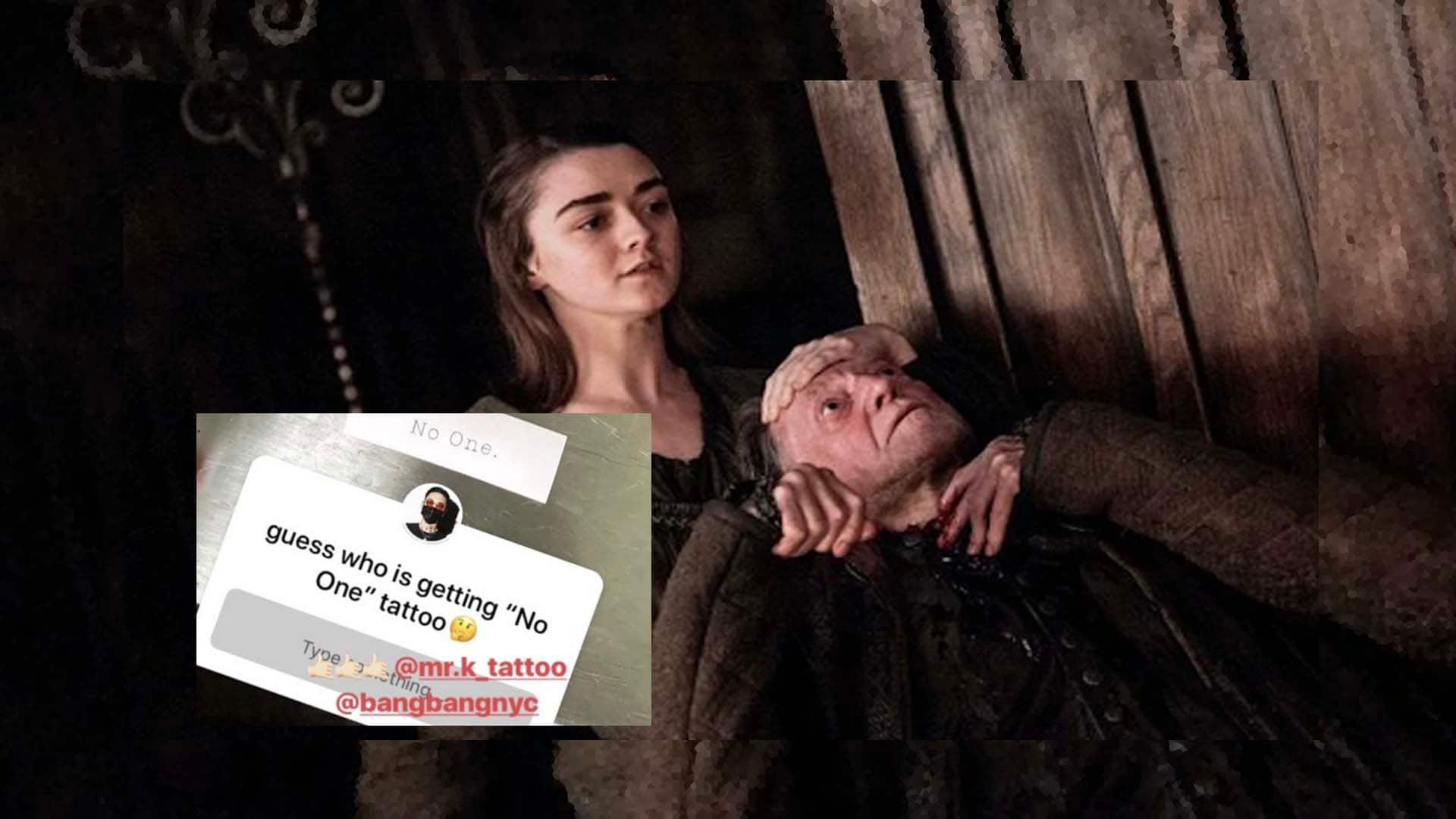 Games of Thrones actor Maisie Williams aka Arya Stark gets a 'No One' tattoo