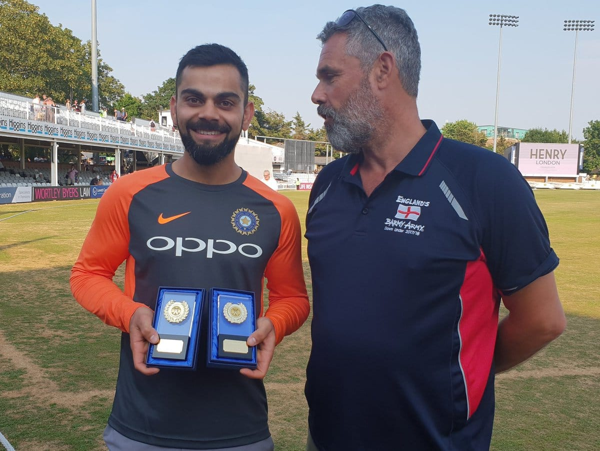 Virat Kohli honoured with International Player of the Year 2017-18 award by the Barmy Army