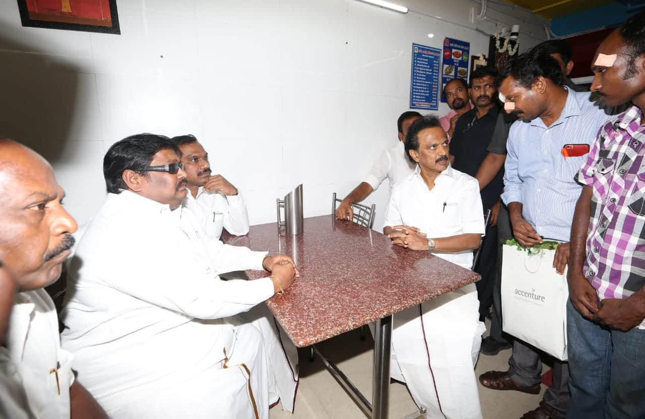 Stalin meets owner of biryani hotel after attack by DMK members