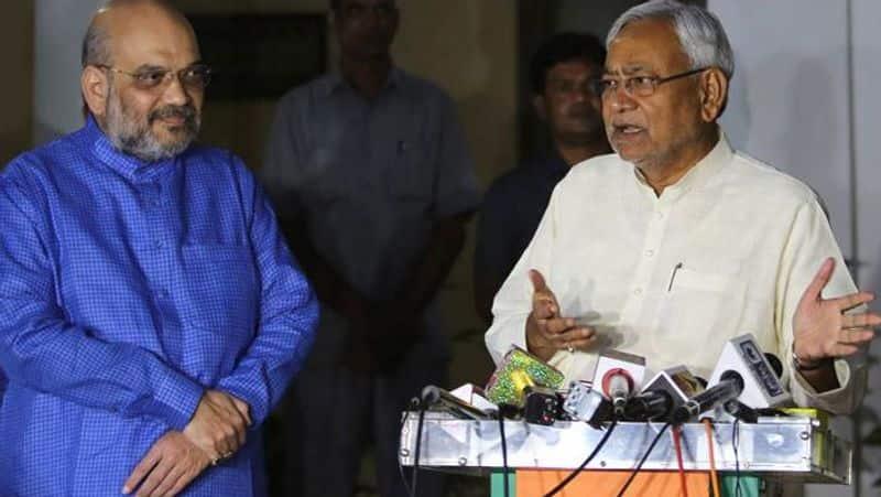 Nitish kumar met BJP President Amit shah on his residence