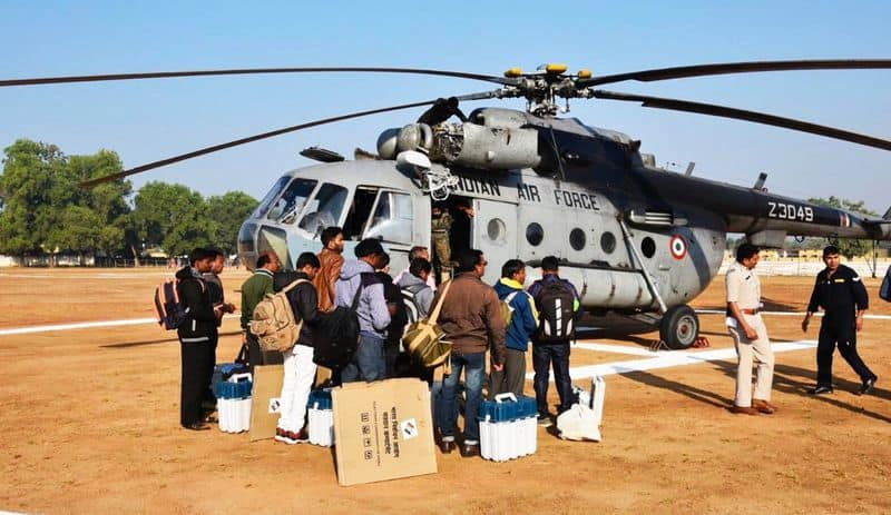 chattisgarh election: with high security of police voters goes to give vote by helicopter
