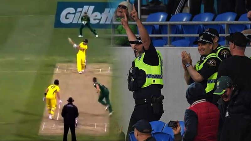 Watch: Police officer takes spectacular running catch at Australia-South Africa 3rd ODI