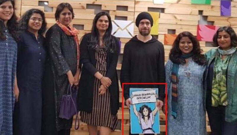 Twitter Jack Dorsey CEO placard India Smash Brahminical Patriarchy trolled