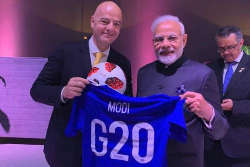 PM Narendra Modi receives special football jersey from FIFA president during G-20 summit
