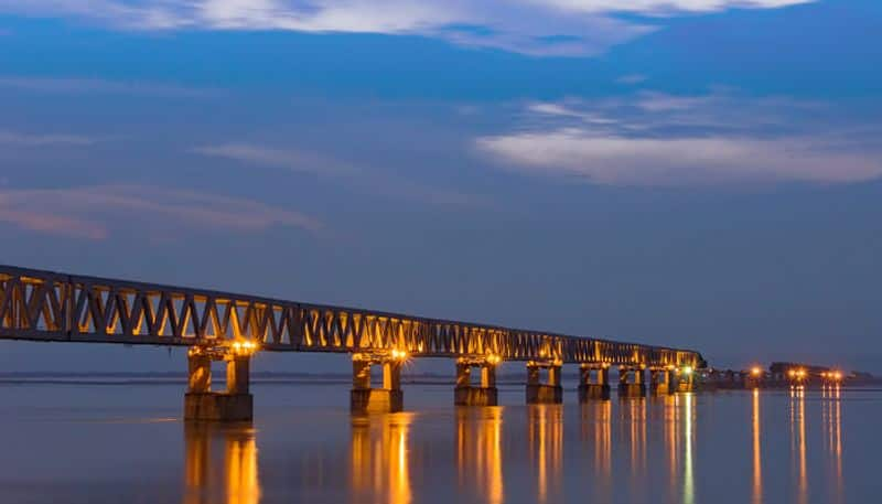 Indian railways first freight train bridge Assam Arunachal Pradesh Asia