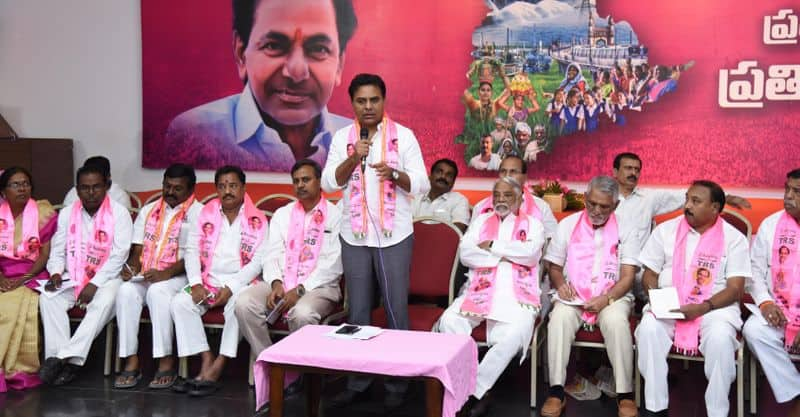 several trs mlas meeting with ktr for cabinet