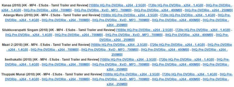 tamil rockers released 6 new movies