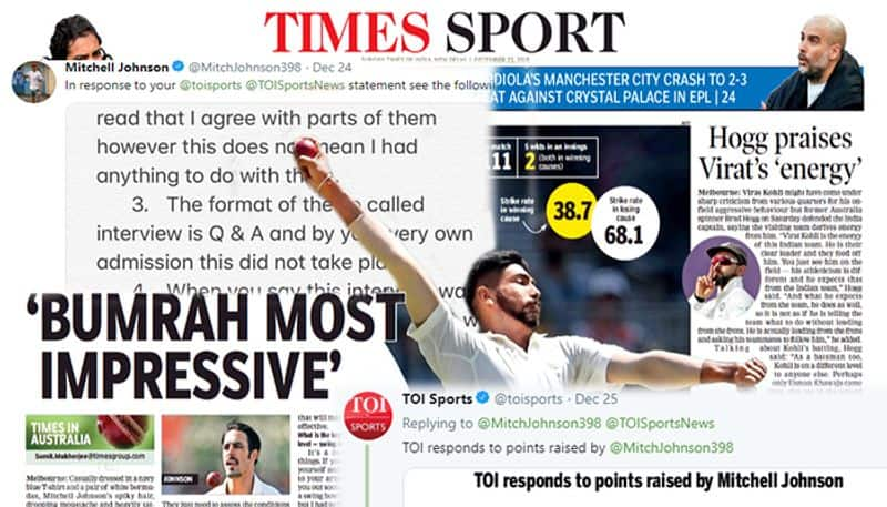 Mitchell Johnson hits back harder with 5 points TOI accused of fabricating interview