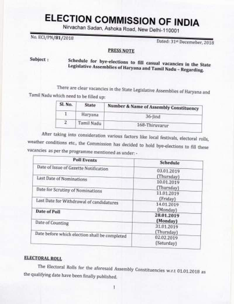 Thiruvarur By- election anouncement