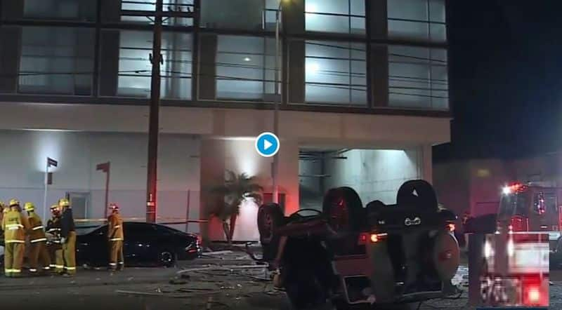 Mercedes G Class falls off 3rd floor to ground driver survives