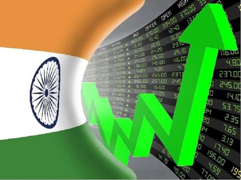 stock market in green signal, market up