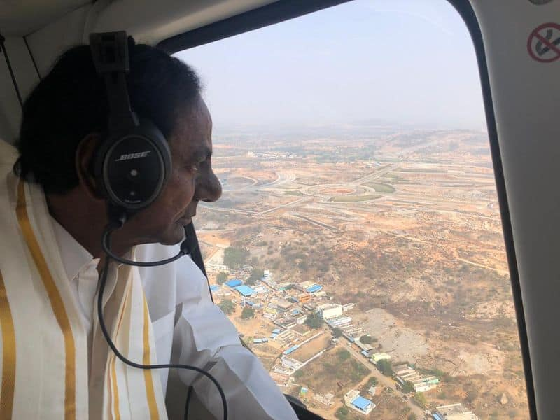 Yadadri temple Telangana chief minister KCR makes aerial inspection of renovation works