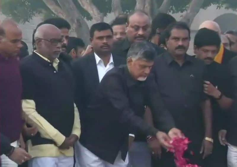 Chandra Babu Naidu observing daylong strike in Delhi with supporter to give special status state