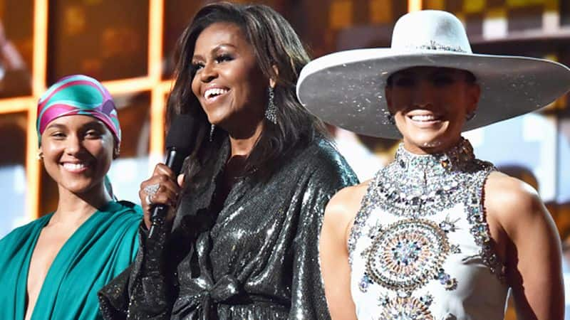 Michelle Obama makes surprise Grammys appearance to support host Alicia Keys