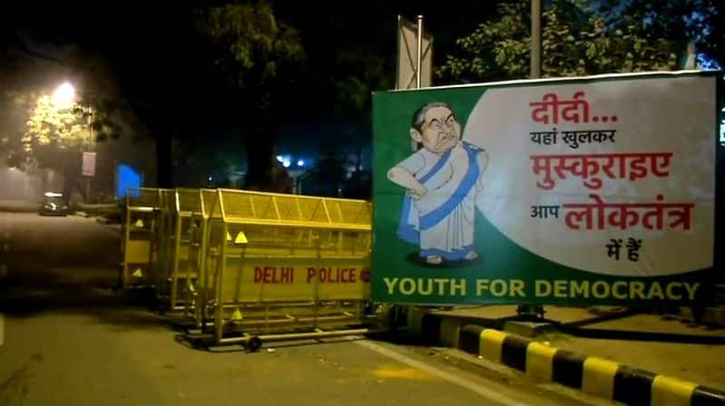 mamata banerjee posters in delhi welcome to democracy