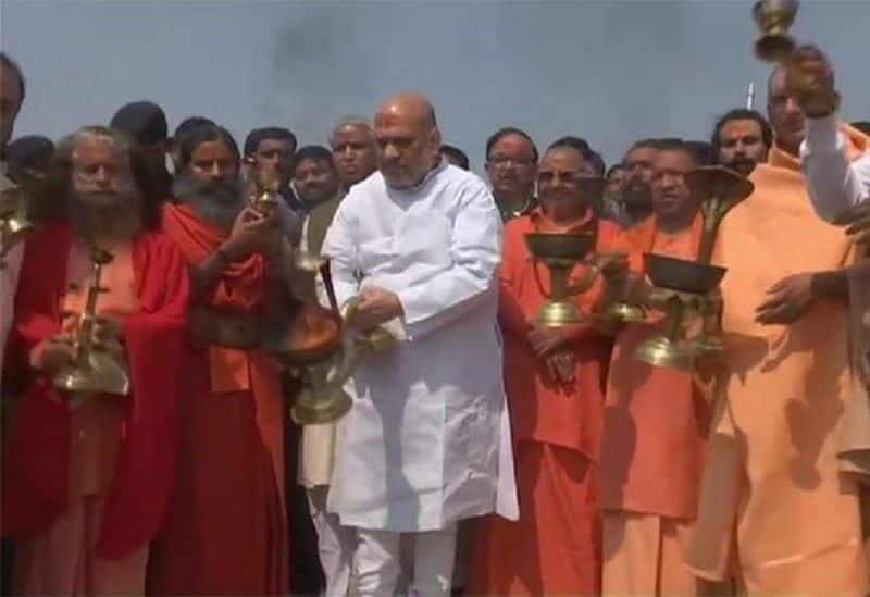 Amit saha dip in holy Kumbh today, will discuss with yogi and saint for next visit of PM Modi