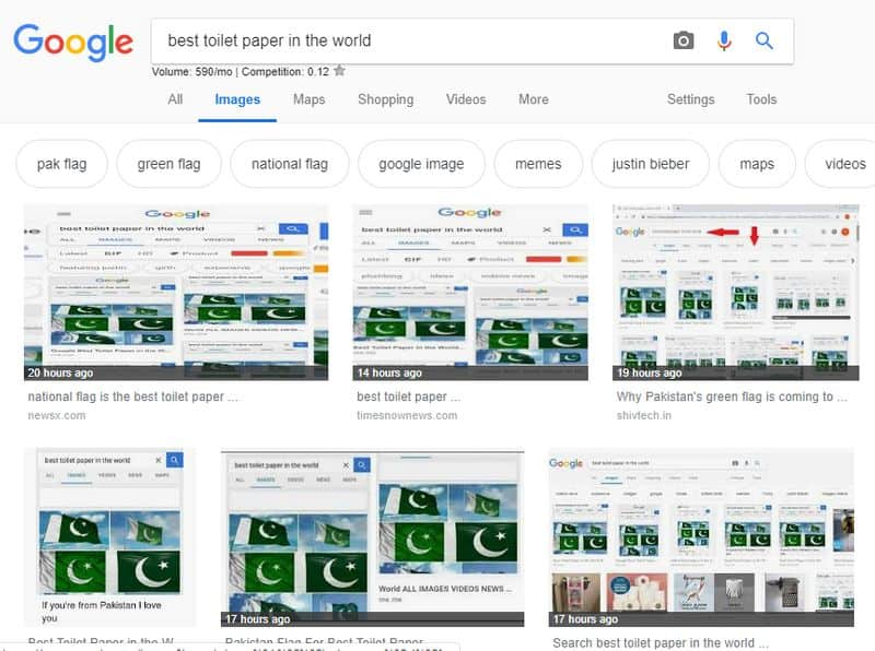 Google image shows Pakistan flag as best toilet paper in the world after Pulwama massacre