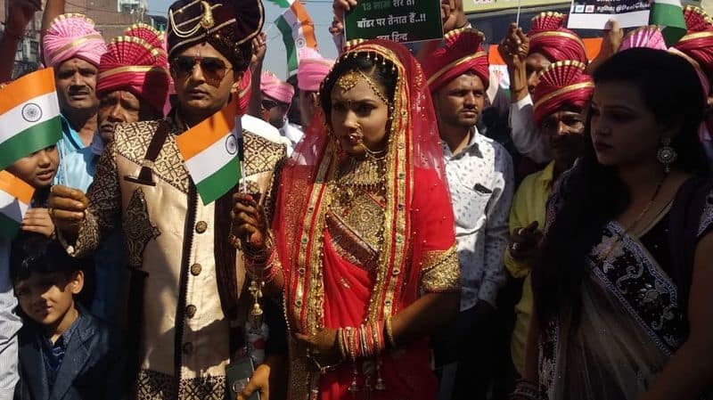 After Pulwama attack Vadodara couple dedicates their marriage procession to deceased CRPF soldiers