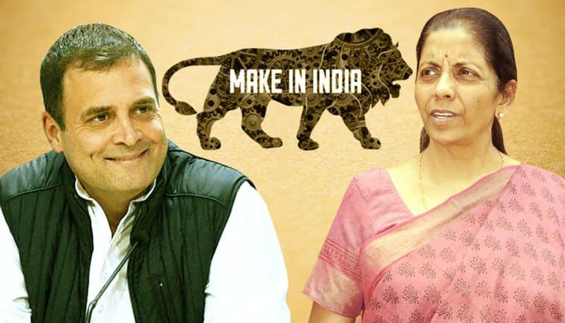 Nirmala Sitharaman taunts Rahul Gandhi Make in India highlights contributions people