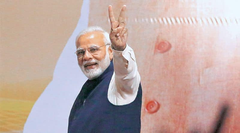 PM Modi touched feet of his archrival in Gujarat, video viral in social media