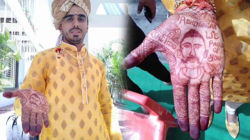 one indore groom made photo of wing commander abhinandan in his hands
