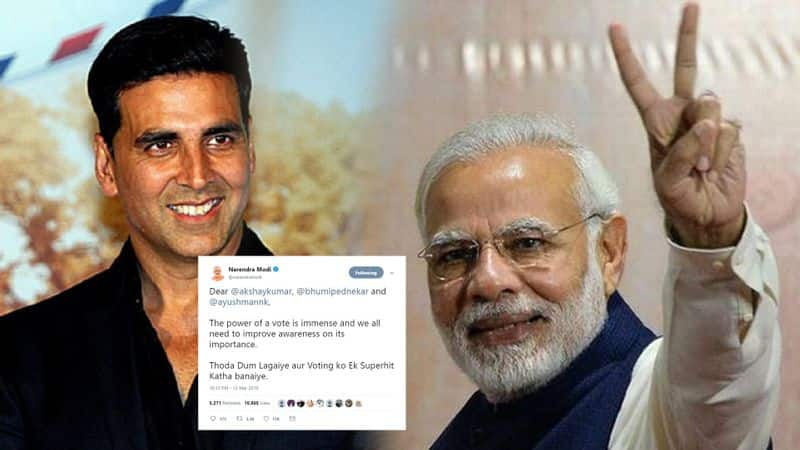 pm modi appeal to every bollywood celeb to increase voter awareness