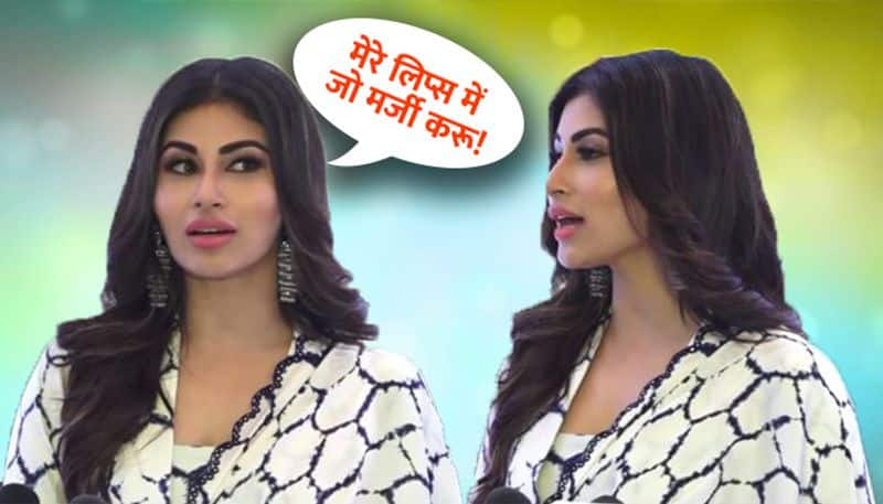 mouni roy get angry on reporter because of asking lip surgery question