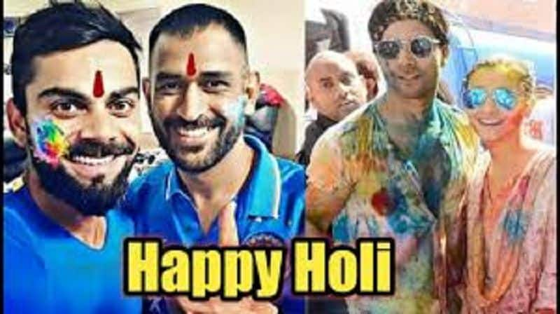 India Cricketer celebrating holi festival with foreigner players