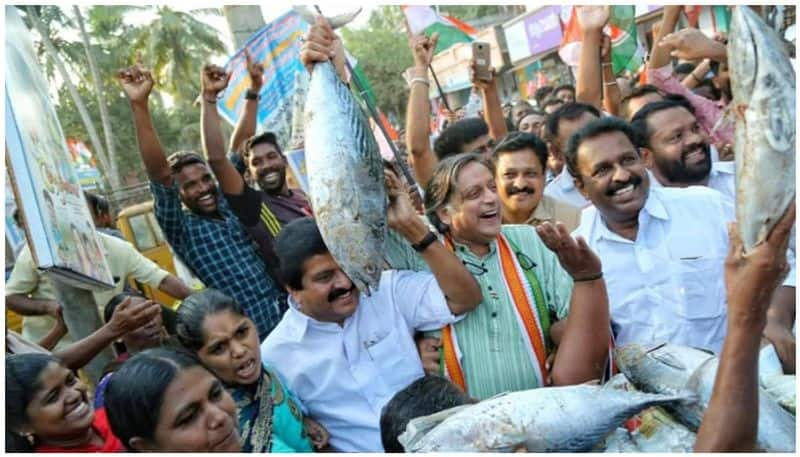 Shashi Tharoor campaigns in coastal areas of Thiruvananthapuram to counter the squeamishly campaign