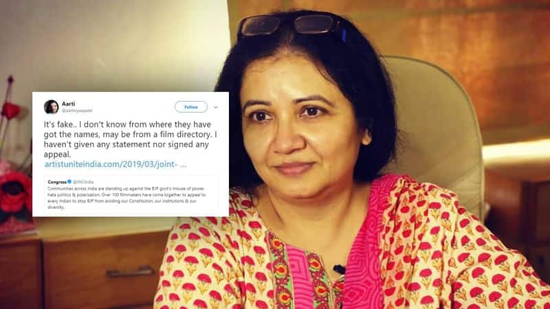 Actress Aarti Vyas Patel says film makers appeal to vote out BJP from power is fake