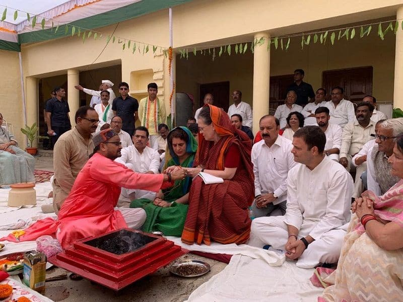 Sonia Gandhi file nomination after Puja archana in raebareli with Gandhi Family
