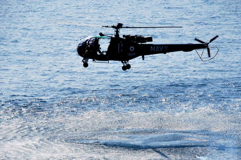 Indian Navys helicopter ditched at sea crew members safe