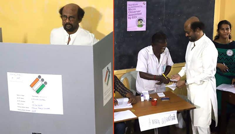 Rajinikanth K Palaniswami among early voters Lok Sabha Tamil Nadu