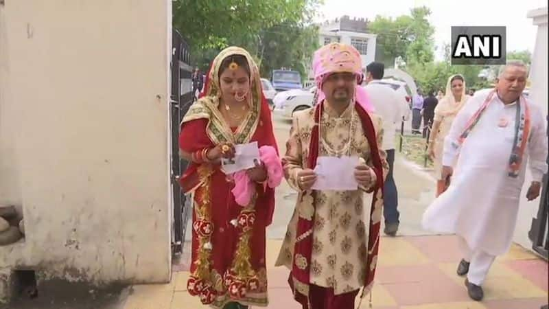 A Newly Married Couple Cast their Vote in Udhampur