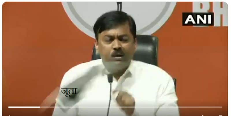 shoe hurled on BJP Spokesperson during press conference