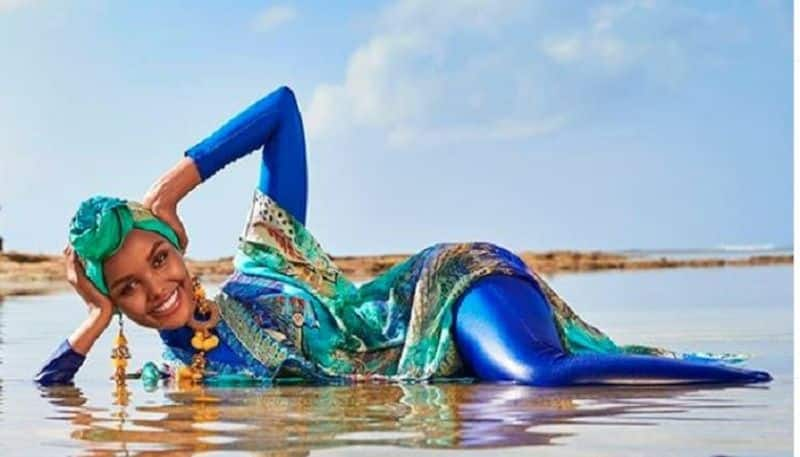 supermodel Halima Aden makes swimsuit history in hijab and burkini