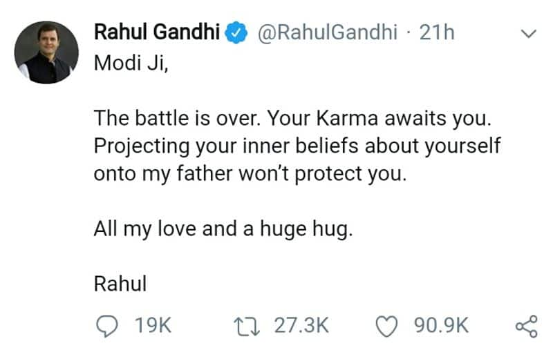 ragul gandhi reply to Modi about his father