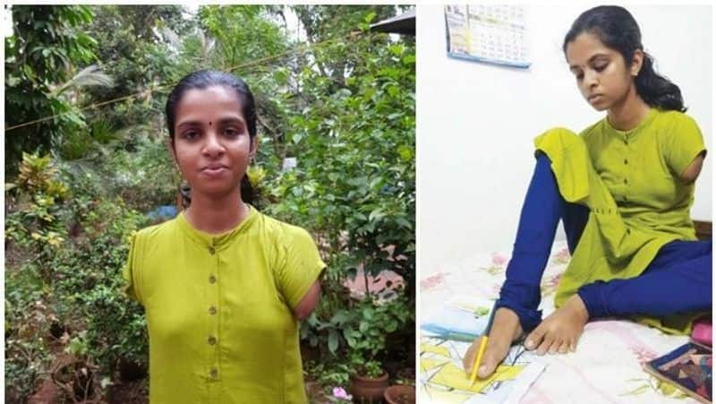 Kerala girl with no arms puts best foot forward secures A plus SSLC exam