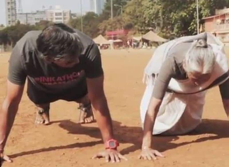 ON MOTHERS DAY MILIND SOMAN'S  80 YEAR OLD MOM DOES PUSH UP