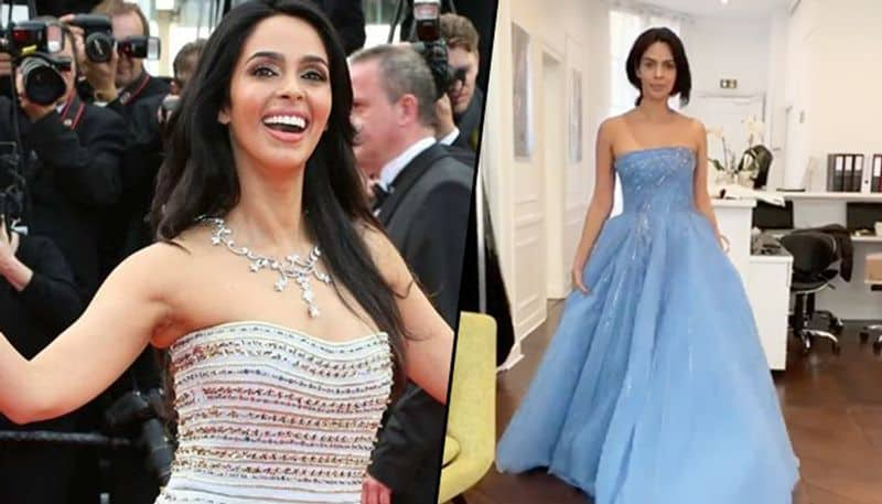 Cannes 2019: Mallika Sherawat twirls in her blue off-shoulder gown