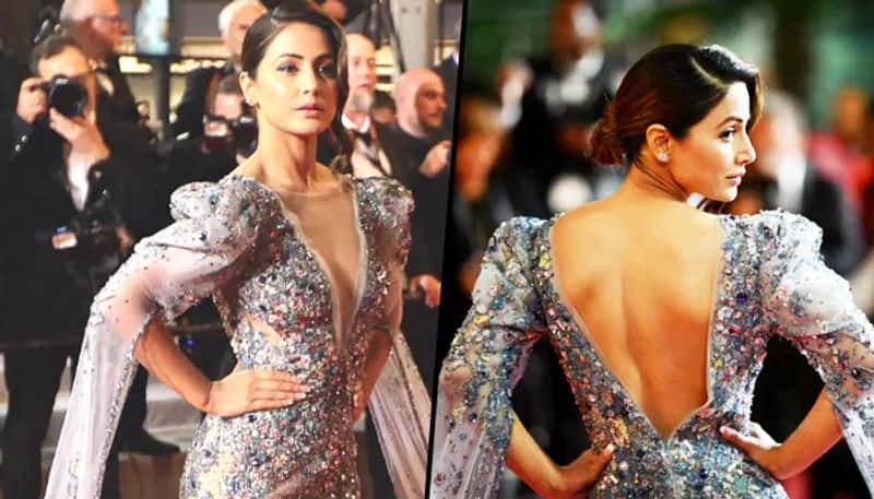 Cannes 2019: TV star Hina Khan  dazzles in silver embellished see-through gown