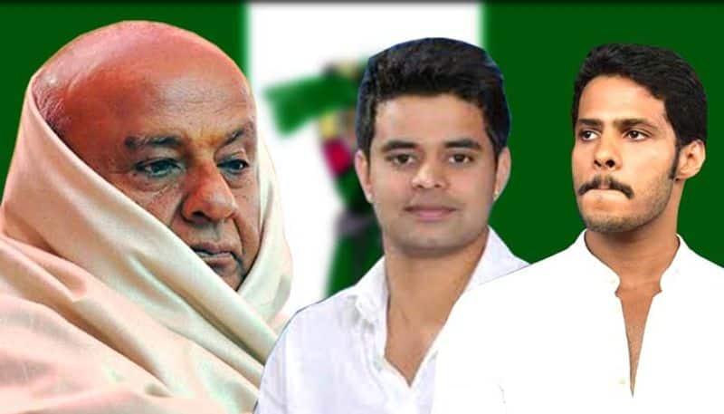 Election results 2019 JDS Deve Gowda trails Nikhil  edgePrajwal Revanna leads