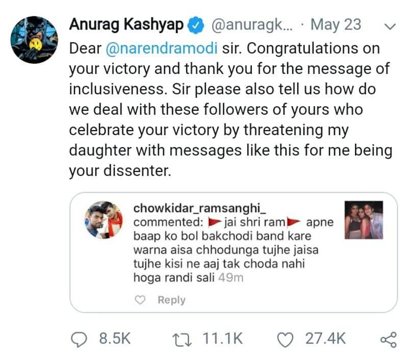 Anurag kasyab wish to modi