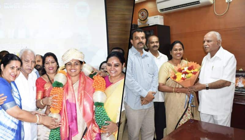 Karnataka BJP president Yeddyurappa felicitates Shobha Karandlaje for Lok Sabha win