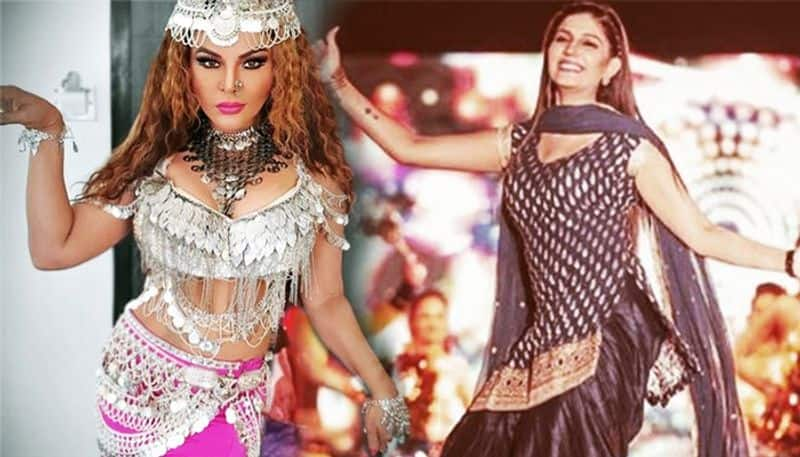 Sapna choudhary and  rakhi sawant dance together on stage