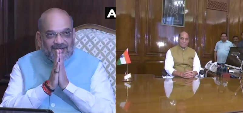 Amit Shah and Rajnath Singh took charge of their ministeries