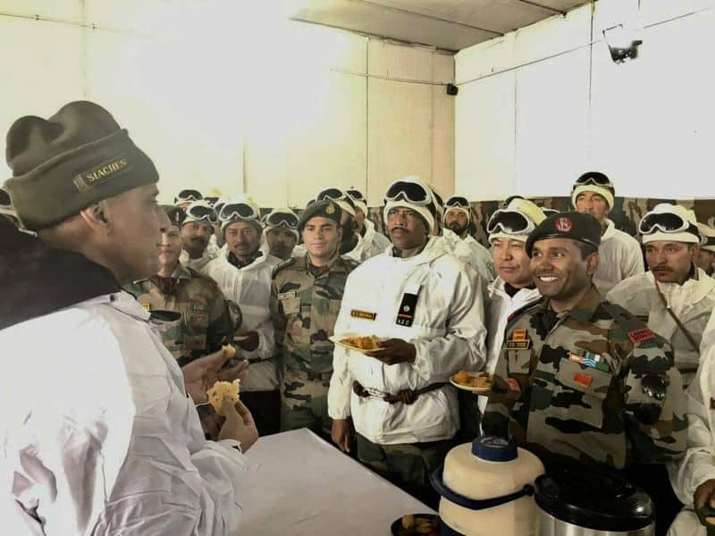 Defence Minister Rajnath Singh meets troops in Siachen with army chief General Bipin Rawat