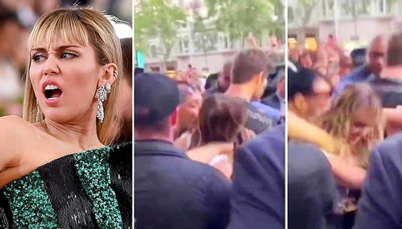 fan kissed hollywood singer and actress miley cyrus
